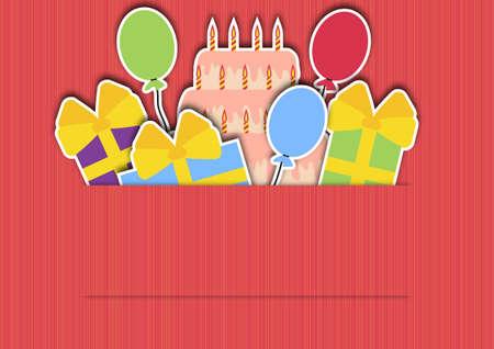 fondo de color rosa con globos de regalos y una torta