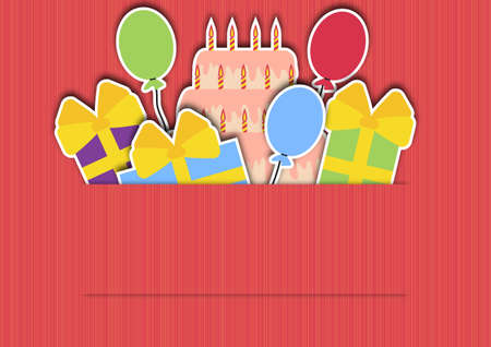 pink background with gifts balloons and a cake Vector