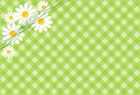 background in the green cell with daisies Stock Vector - 14124249