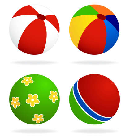 set  of beach balls isolated on white background
