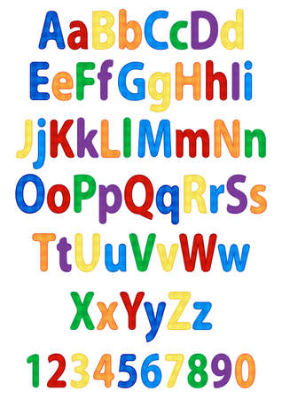 school kit: fun colorful alphabet letters and numbers