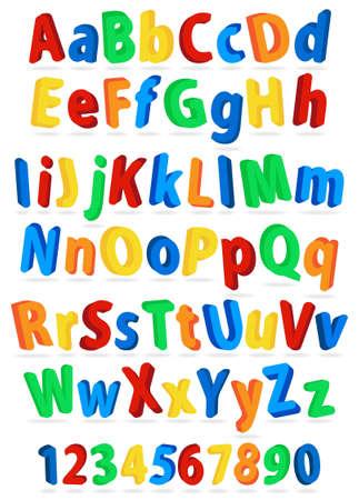 divertidas letras del alfabeto y los n�meros de colores Vectores