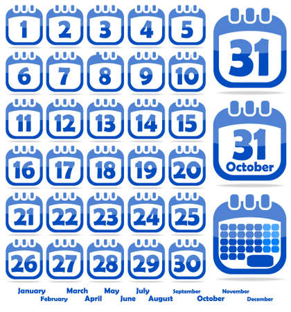 set of web icons in the form of a calendar Stock Vector - 14370979