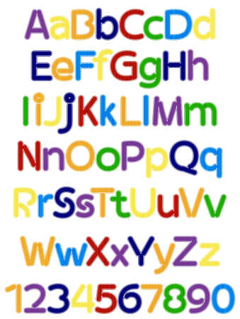 school kit: fun colorful alphabet letters and numbers vector illustration