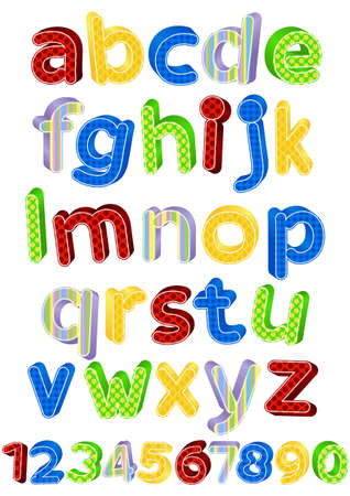 alphabet kids: fun colorful alphabet letters and numbers  illustration
