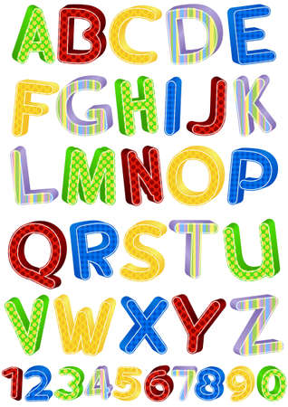 school kit: fun colorful alphabet letters and numbers illustration