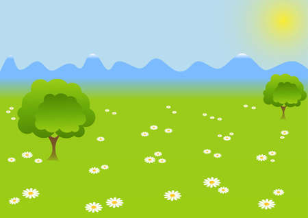 landscape sunlit green floral pockets and mountains Vector