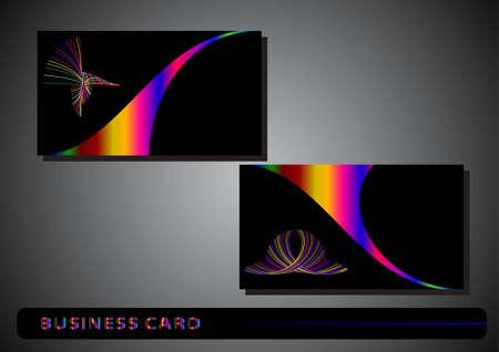 tarjeta de visita con un logotipo de color sobre un fondo negro