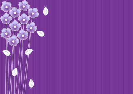 abstract purple background with daisies and leaves
