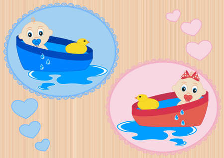 Children bathe in the bath with toy duck Vector