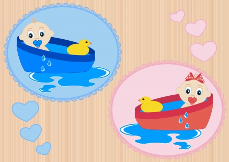 Children bathe in the bath with toy duck Stock Vector - 15169513