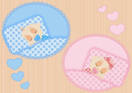 im bett liegen: happy little schlafenden Kinder Junge und M�dchen Illustration