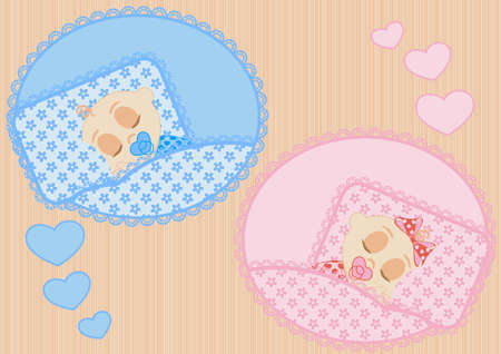 happy little sleeping children boy and girl Vector