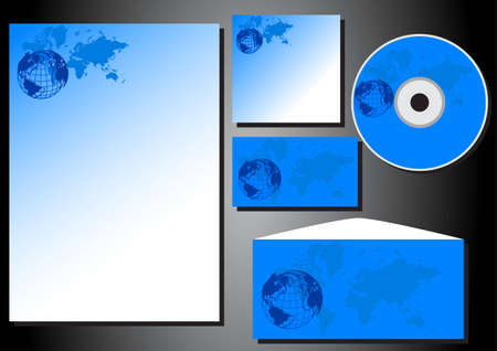 printing business: Patterns of business style form, business card, CD, stationery, envelope  Illustration