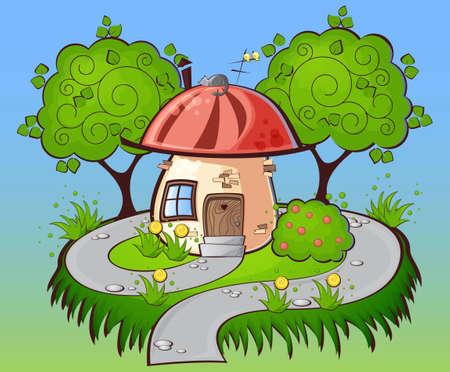 fondo el camino a una casa de dibujos animados con el gato en el tejado rodeada de �rboles