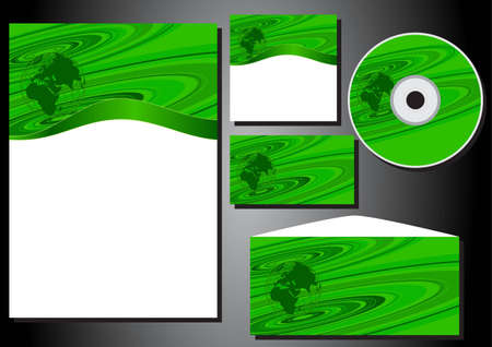 package printing: Patterns of business style form, business card, CD, stationery, envelope  Illustration