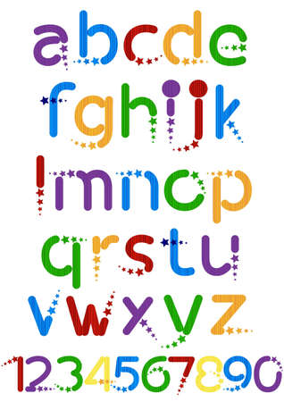 fun colorful alphabet letters and numbers  Vector