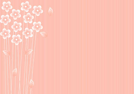 abstract pink background with white flowers and leaves Stock Vector - 15711487
