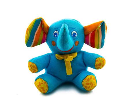 juguete elefante azul aislado sobre fondo blanco Foto de archivo
