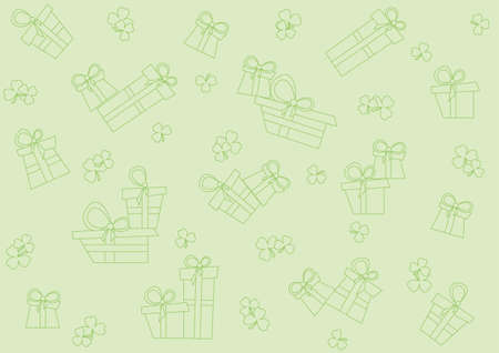 pistachio seamless pattern with gifts and shamrock Vector