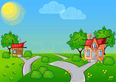 background the path to a cartoon house with the cat on the roof surrounded by trees Vector