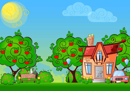 background cartoon house surrounded by the trees Vector