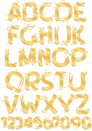 gold alphabet and numbers with gold stars Vector