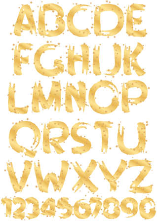 gold alphabet: gold alphabet and numbers with gold stars