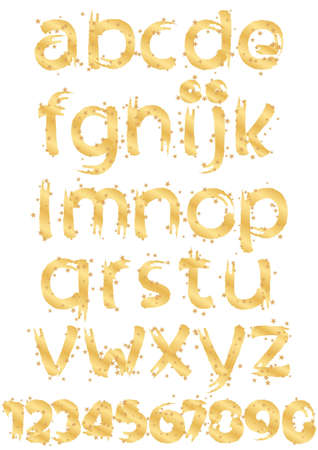 gold alphabet and numbers with gold stars Stock Vector - 17010882