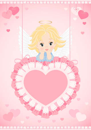 greeting card with an angel on the pink heart Stock Vector - 16991030
