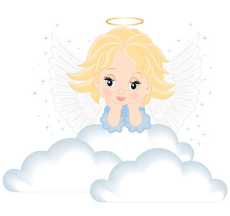 angel in white clouds isolated on white background Vector