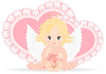 angel sitting in front of pink hearts isolated on white background Stock Vector - 17166980