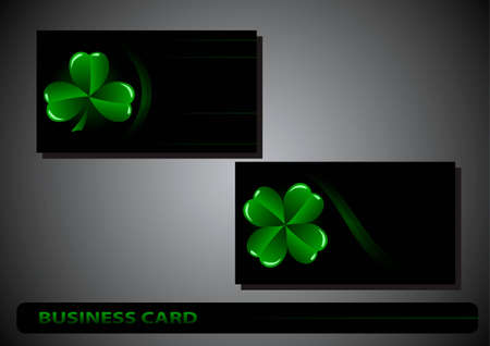 business card St. Patricks Day clover on a black background Vector