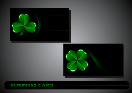 business card St. Patrick's Day clover on a black background Stock Vector - 17194033
