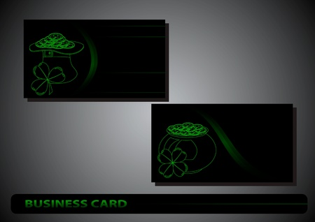 business card St. Patrick's Day clover on a black background Stock Vector - 17194036