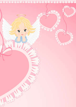 greeting card with an angel on the pink heart Vector
