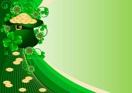 Greeting Card St. Patricks Day with clover and golden coins Vector