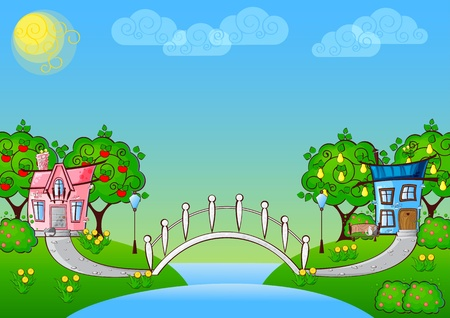 bridge in nature: background with cartoon houses in love and a bridge over the river
