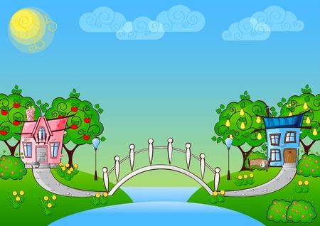 fondo con casas de dibujos animados en el amor y un puente sobre el r�o Vectores