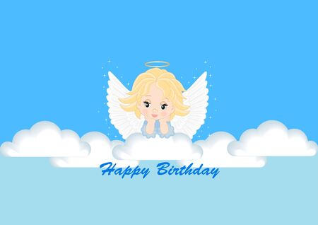 greeting card with the angel for birthday Stock Vector - 17314208