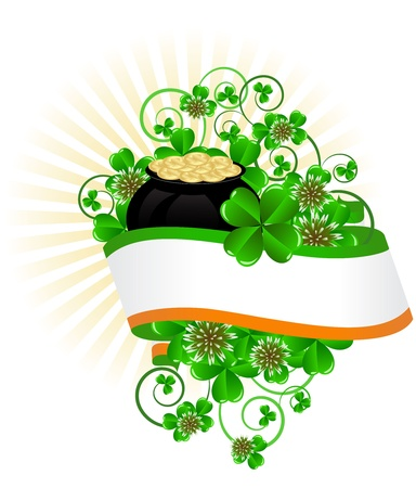 greeting card with clovers and pot of gold St. Patrick's Day Vector