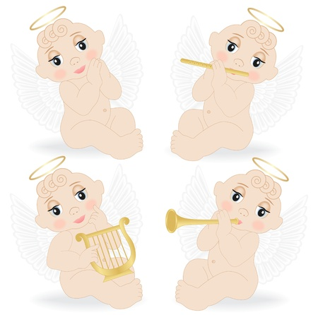 set of small angels playing musical instruments Vector