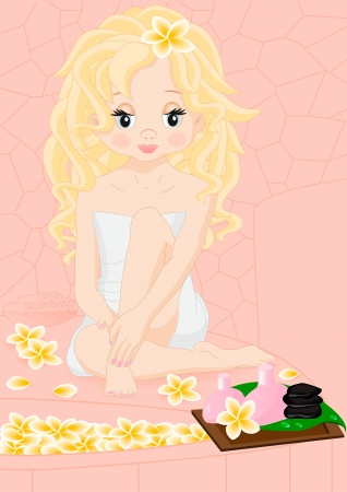 blonde girl in the spa sitting on his lap Vector
