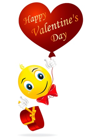 Smilies enamored held in his hands balloon in the form of heart as symbol of love Vector