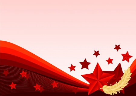 greeting card with ribbons and red stars Illustration