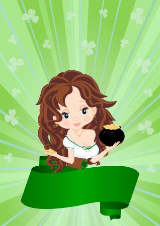 female leprechaun: Greeting card for the holiday St. Patricks Day