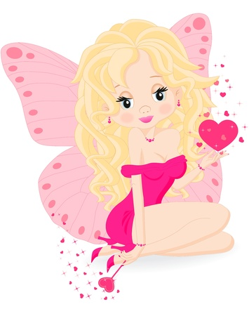magical little fairy in a pink dress with a magic wand Stock Vector - 17621879