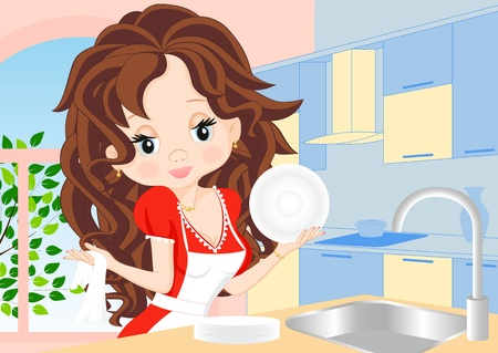 bowl sink: woman in a red dress in the kitchen wipes the dishes