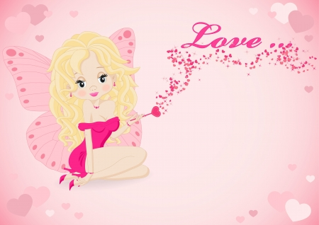 greeting card with a fairy in a pink dress Vector