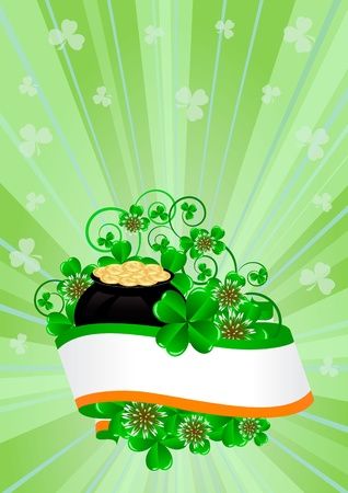 greeting card with clovers and pot of gold St. Patricks Day Vector